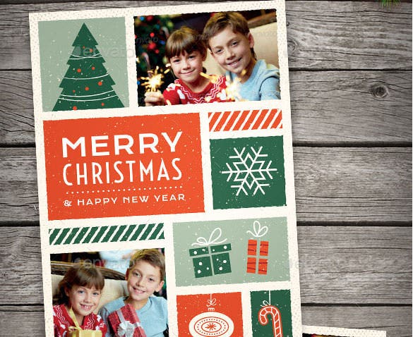 illustrated christmas photo card ai format