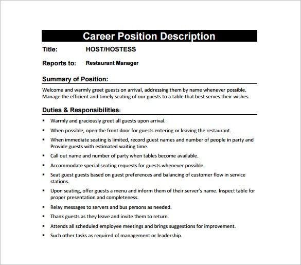 Hostess Job Description Template   Free Word Pdf Format