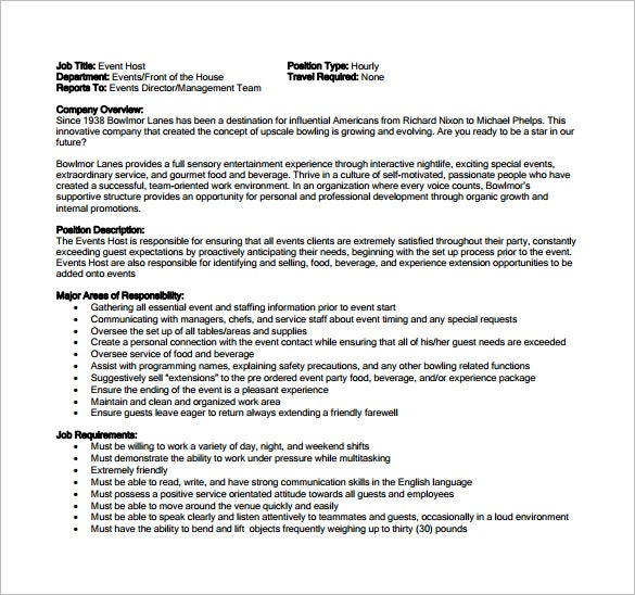 Hostess Job Description Template   Free Word  Format