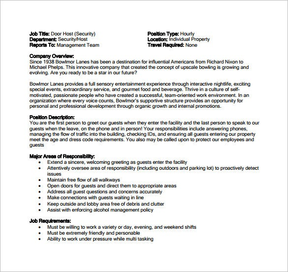 "Door Job Description & Restaurant Server Job Description Form""""Sc"