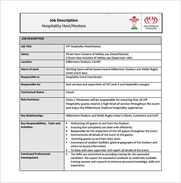 hostess job description template 10 free word pdf format