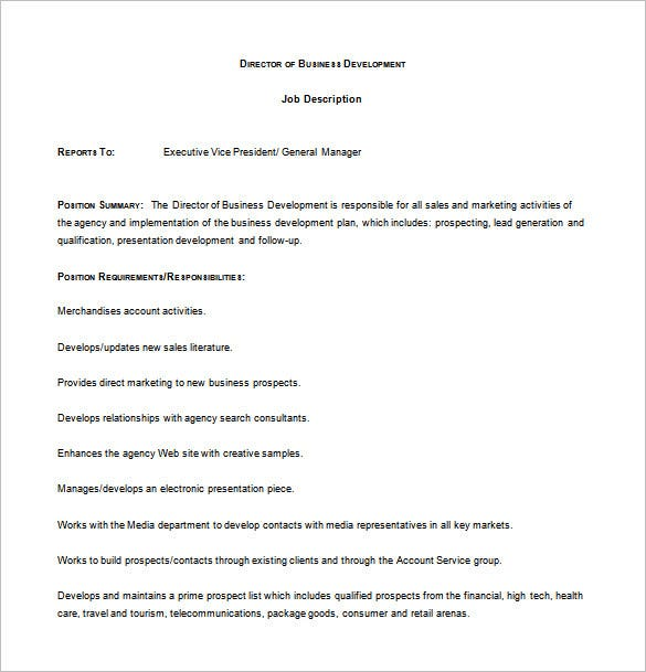 Superior Director Of Business Development Job Description Free Word Download