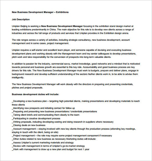 New Business Development Manager Job Description Free PDF