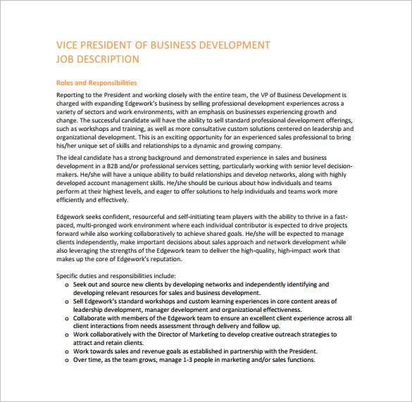 Charming Vice President Of Business Development Job Description PDF Free Download