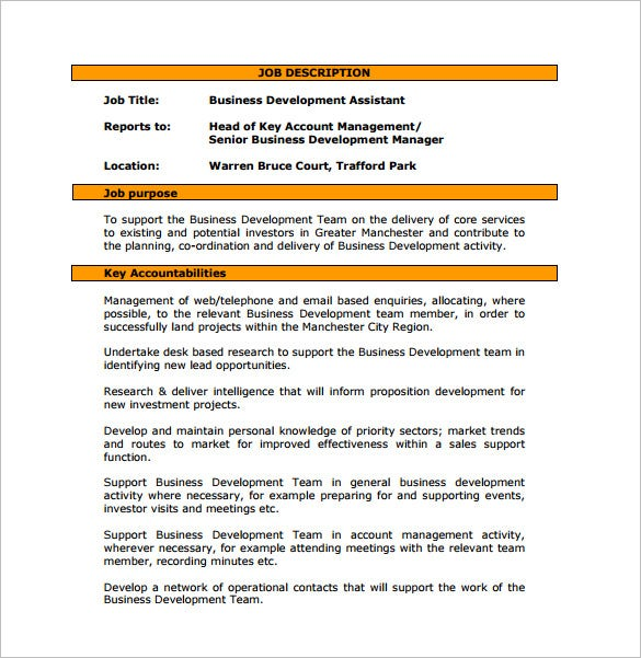 Business development job description template 10 free word pdf business development assistant job description free pdf template wajeb Image collections