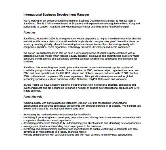 free international business development manager job description pdf download