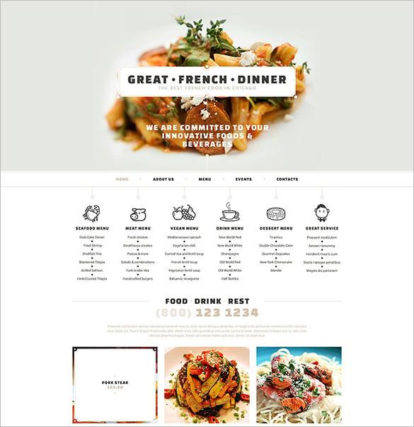 french restaurant responsive website theme