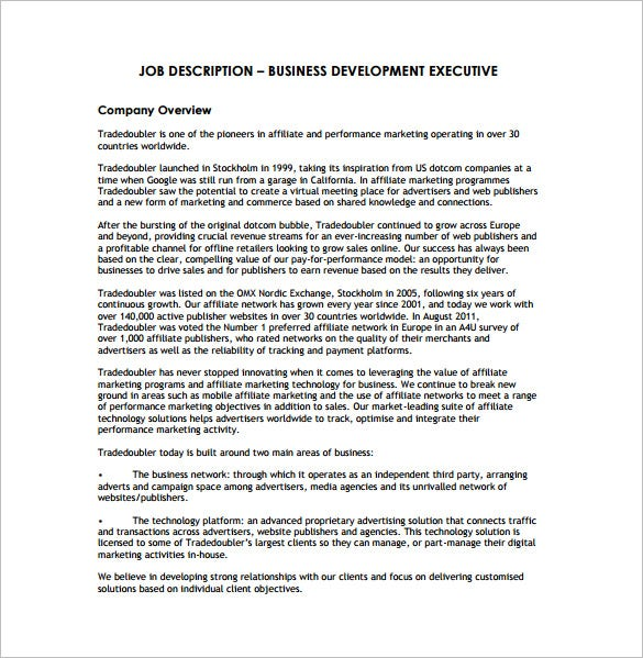 Business Development Job Description Template 10 Free Word Pdf