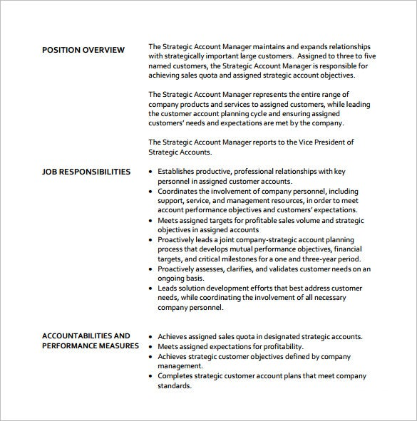 Awesome Strategic Account Manager Job Description Free PDF Template
