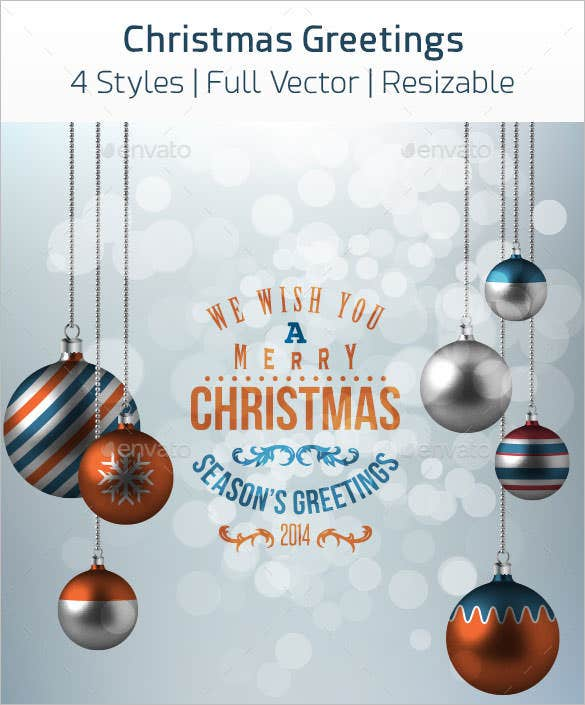 4 christmas greetings card template vector download