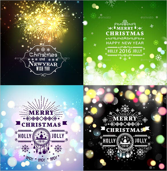 6 christmas greetings card template for 2016 eps format