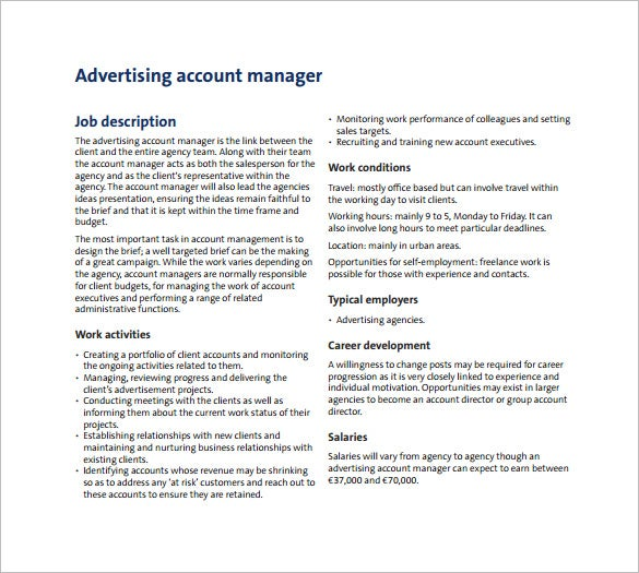 Exceptional Adverstising Account Manager Job Description PDF Free Template