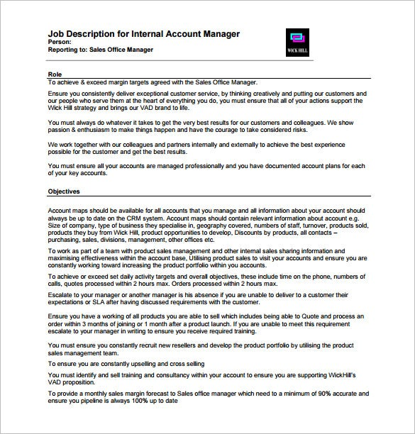 Internal Account Manager Job Description PDF Free Template  Account Manager Job Description