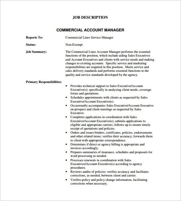 Free Commercial Account Manager Job Description PDF Download  Account Manager Job Description