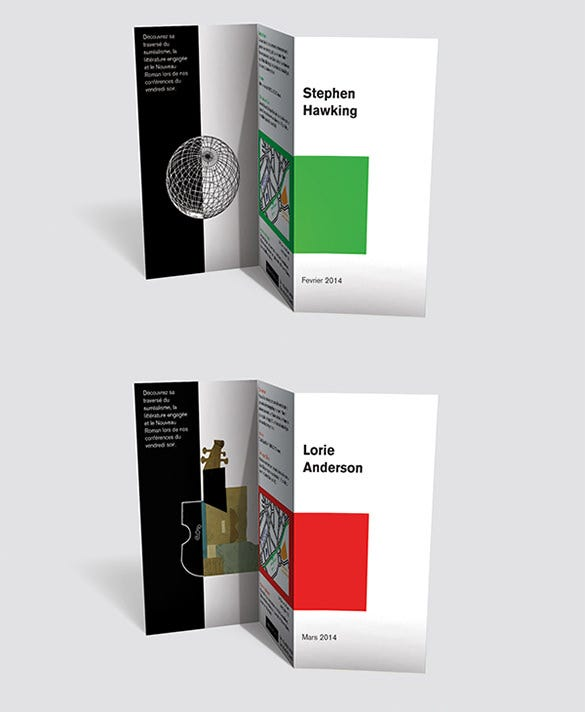 multimedia library trifold brochure