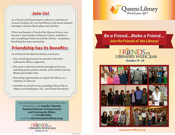 brochure for queens library