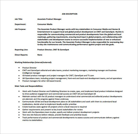 free associate product manager job description pdf download