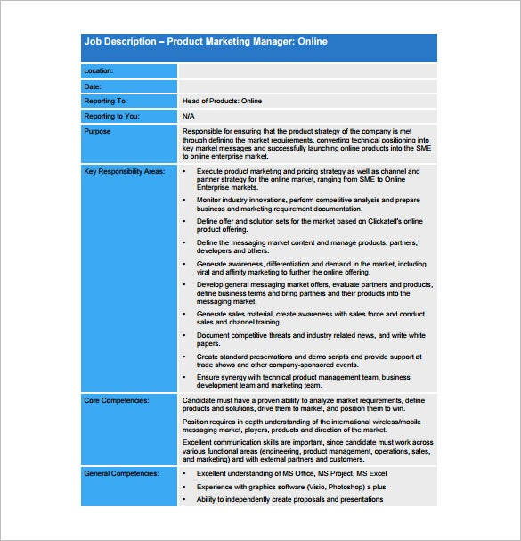 Product Manager Job Description Template – 10+ Free Word, Excel