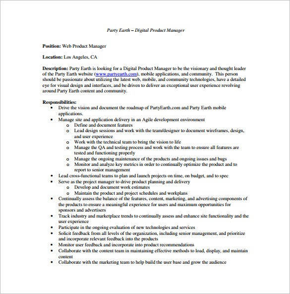 Digital Product Manager Job Description Sample PDF Free Download Amazing Ideas