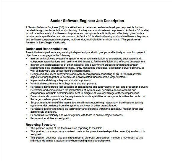 senior software engineer job description free pdf template sample - Responsibilities Of A Software Engineer