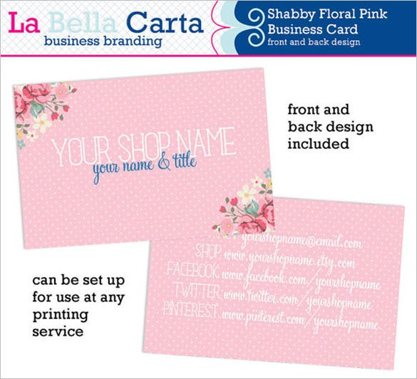 20 pink business cards free psd eps ai indesign word pdf shabby floral pink business card fbccfo Image collections
