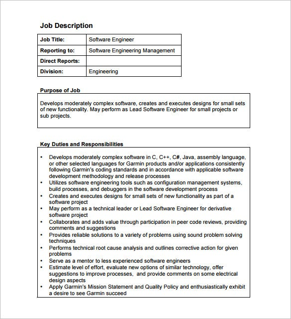 computer software engineer job description pdf free download - Responsibilities Of A Software Engineer