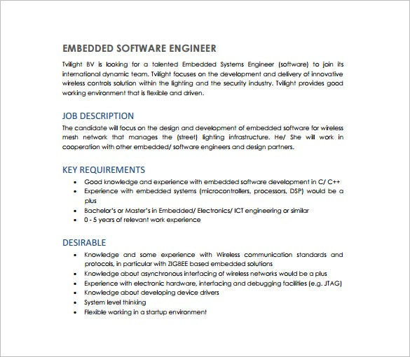 Job Description For Electrical Electronic Engineering. National