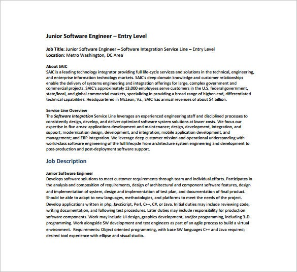 junior software engineer example job description free pdf template - Software Engineer Template