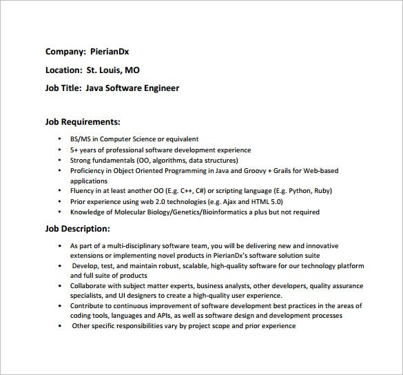 Awesome Java Software Engineer Job Description PDF Free Template