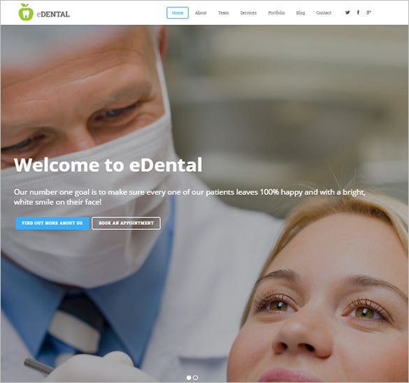 parallax responsive bootstrap theme for dentist