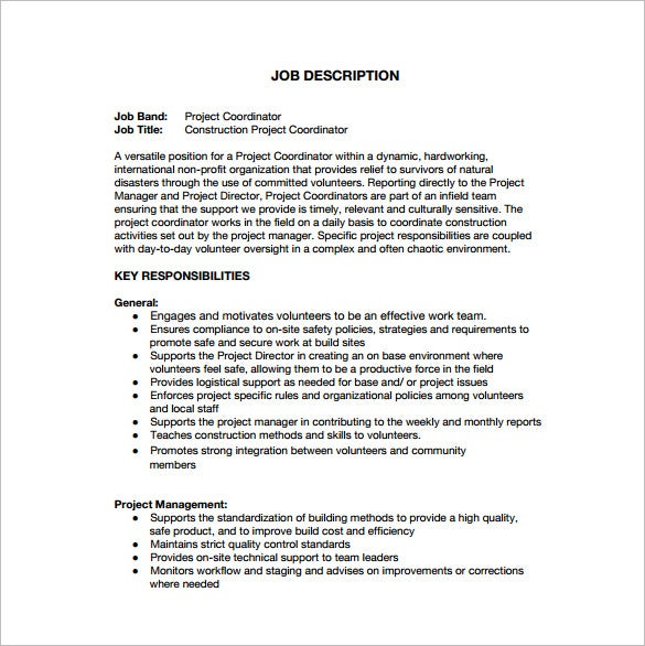 construction project coordinator job description free pdf template