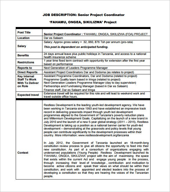 senior project coordinator job description pdf free download