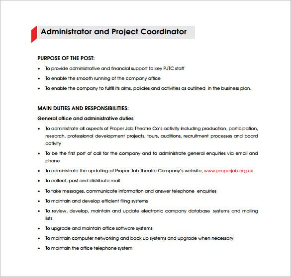 administrator project coordinator job description free pdf template