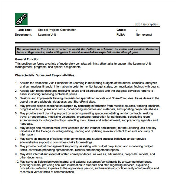 Project Coordinator Job Description Template 9 Free Word PDF – Coordinator Job Description