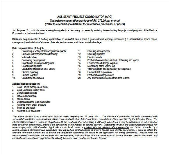 free assistant project coordinator job description pdf download