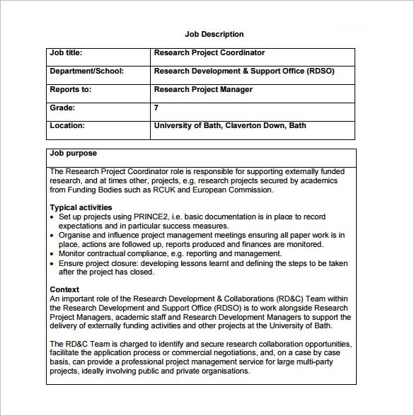 10 project coordinator job description templates free for Samples of job descriptions templates