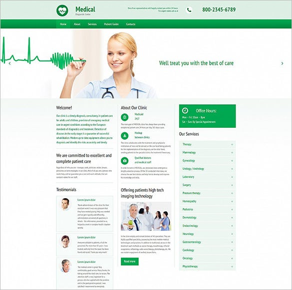 medical responsive php template download
