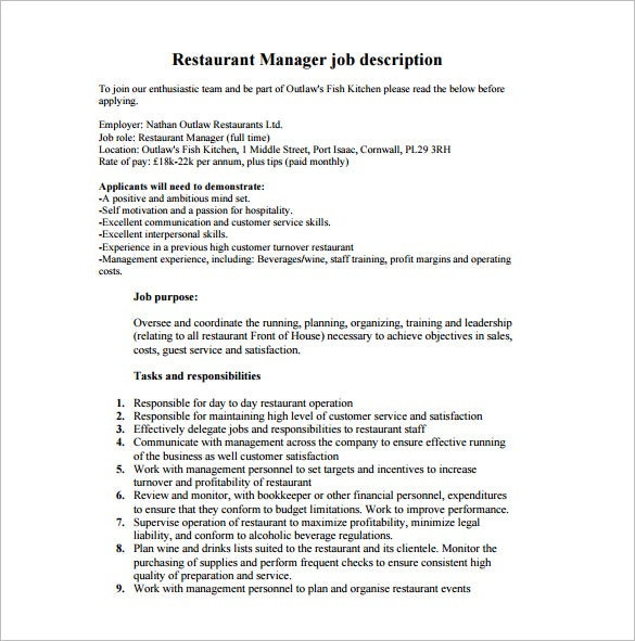 front of house restaurant manager job description free pdf