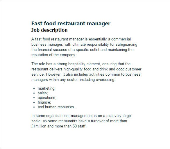 fast food restaurant manager job description template