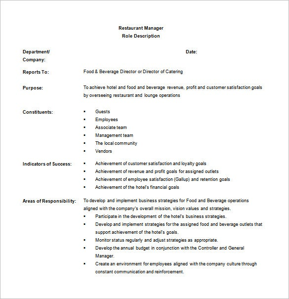 hotel restaurant manager job description free word download