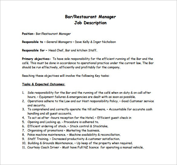 free bar restaurant manager job description pdf download