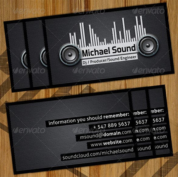 25 dj business cards free download free premium templates dj business card template reheart Choice Image