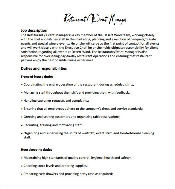 Restaurant manager job description templates 10 free for Events manager job description template