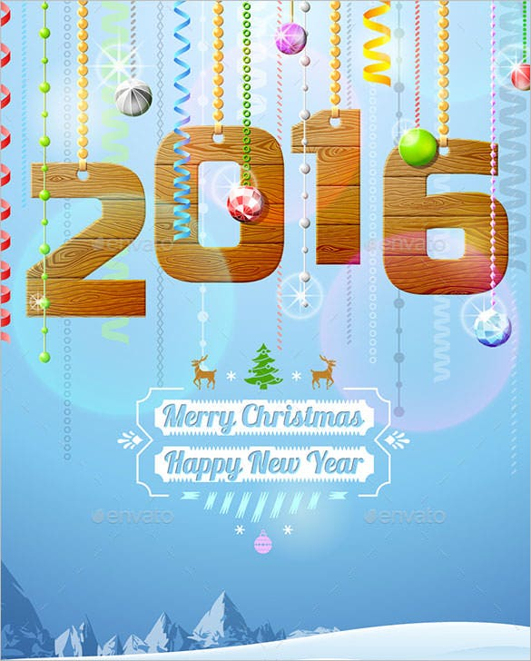 4 new year 2016 greetings card template eps