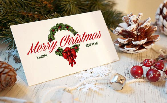 5 christmas greeting card mockups psd format