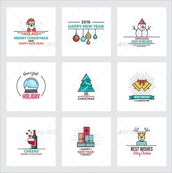 2016 new year christmas greeting cards template