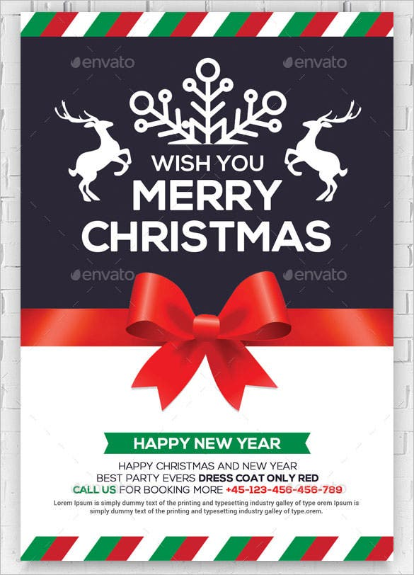 christmas and new year greeting card template psd design