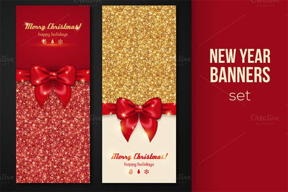 shiny new year banners greeting template eps download