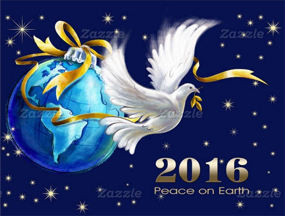 peace on earth new year 2016 greeting card