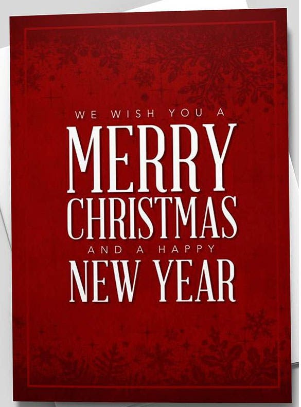 ruby merry christmas happy new year greeting card